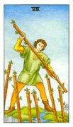 塔罗牌权杖七正位事业含义,逆位是什么意思?